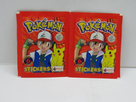 Lot of 2 Factory Sealed 1999 Pokemon STICKERS 6 Collectible Sticker Packs