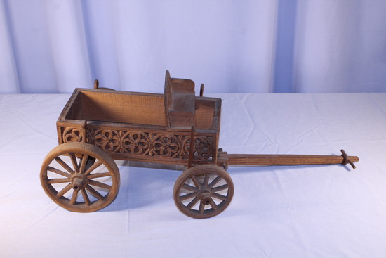 Early Wooden Carved Childs Wagon