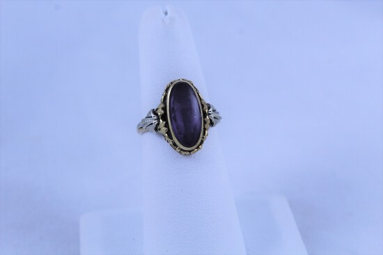 14K Yellow Gold Ring with Lavender Colored Stone