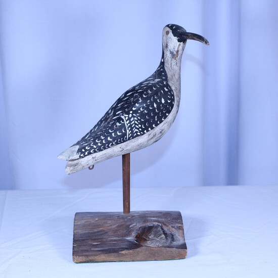 Wooden painted shore bird on stand