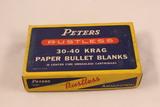 Vintage Peters Rustless 30-40 Krag Paper Bullet Blanks No 3041 in Original Box
