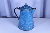 Blue and White Agateware Tea Pot