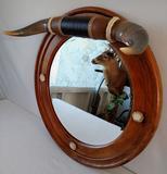 Oak mirror with custom bull horns