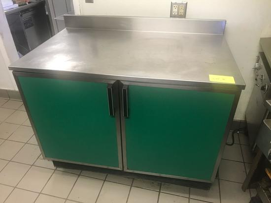 Stainless steel top prep table/work surface with under counter double door cooler