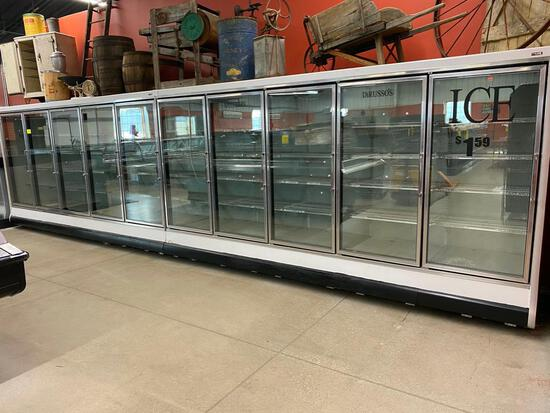 10-Door glass door freezer.