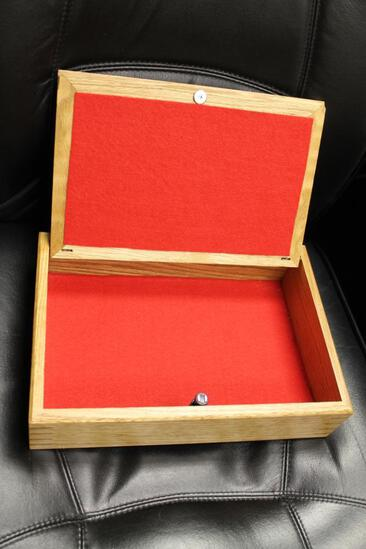 #2074 Wooden Jewelry Box w/Woven Lid - Oak and Maple