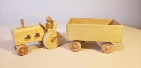 #2153 Wooden Tractor and Wagon
