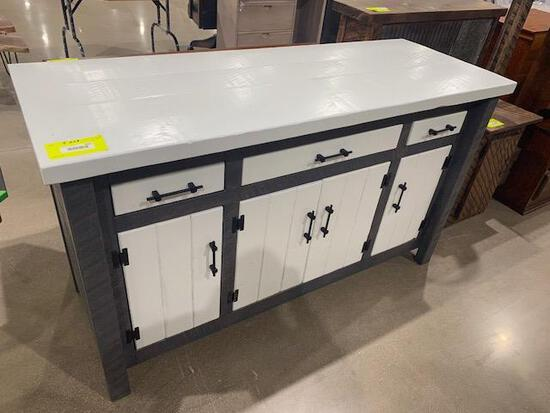 "Rough sawn buffet server 64"" x 24"" x 37"" Painted"