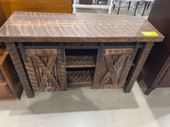 "Rough sawn maple entertainment Center with barn doors 48"" x 17"" x 31"""