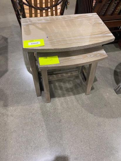 "Oak Nesting Tables (set of 2) 22"" x 14"" x 22"" and 17"" x 12"" x 19"" Stain: Suede"