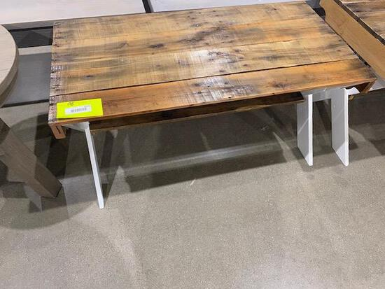 "Reclaimed Barnwood coffee table 40"" x 20"" x 19"" Stain: Natural top and white painted legs"