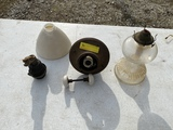 Oil lamp & primitive items