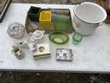 Enamel bucket, Haeger flower pots, & more