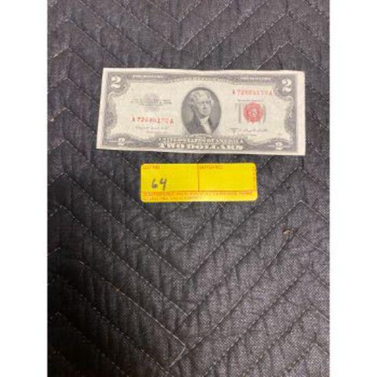 1953 B Red Seal $2 Bill