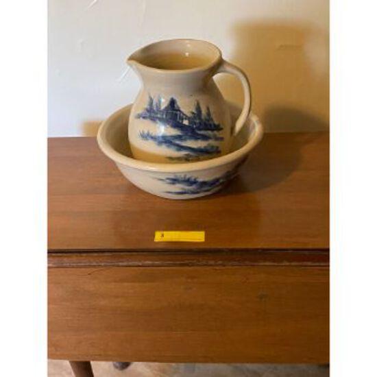 Stoneware Pitcher & Bowl