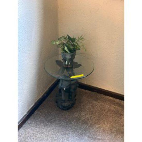 Elephant End Table, Mirror, Print, Flower Pot