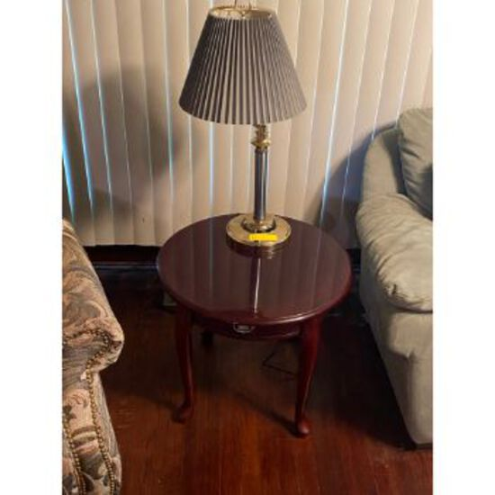 Table Lamp & 1 Drawer Round End Table