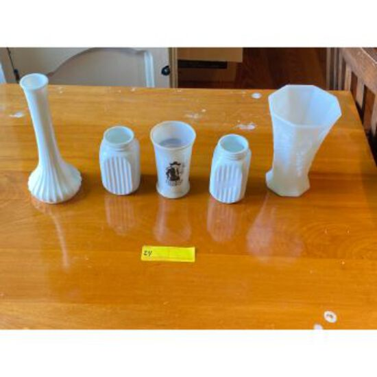 Milk Glass Vases & Containers
