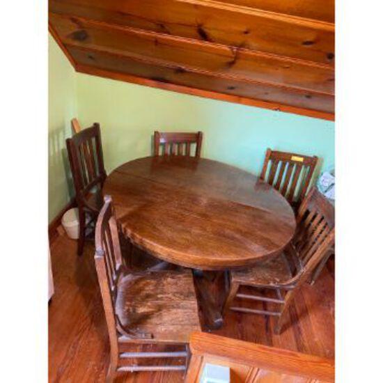 Vintage Single Pedestal Table & 5 Chairs