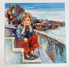 Girl by the Sea by Hilda Rindom serigraph signed/#