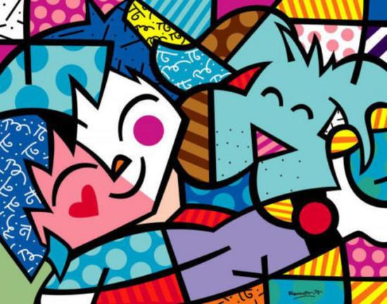 Best Friends  by Romero Britto offset lithograph