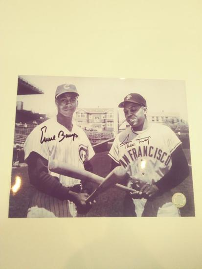 Willie Mays and Ernie Banks Double Signed W COA