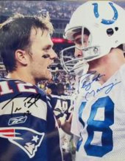 PEYTON MANNING TOM BRADY SIGNED BY BOTH 8 X 10 PHOTO