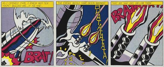 """Roy Lichtenstein """"as I Opened Fire"""" Triptychon original"""