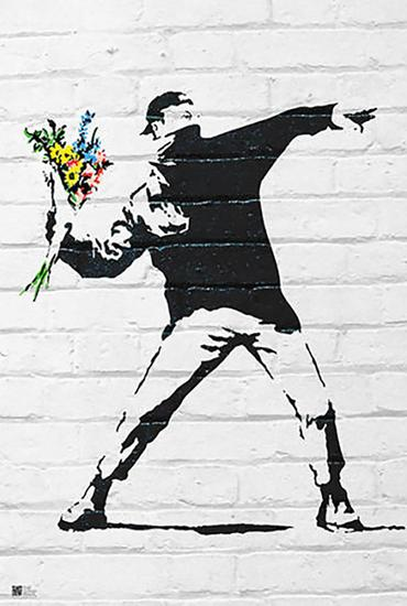 Banksy Flower Bomber Figurative Illustration offset Lit