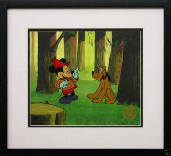 "Disney Frame Mickey Mouse Pluto Animation Cel ""Pointer"