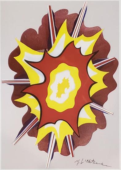 """ROY LICHTENSTEIN """"Explosion"""" 1965"""" Hand signed Framed"""