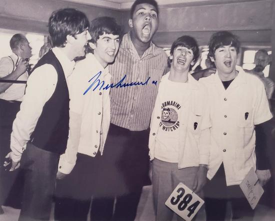 "MUHAMMAD ALI 8"" x 10"" Autographed Photo w/The Beatles"