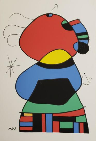 "Joan Miro, ""Woman with Three Hairs"" Original Lithograph"