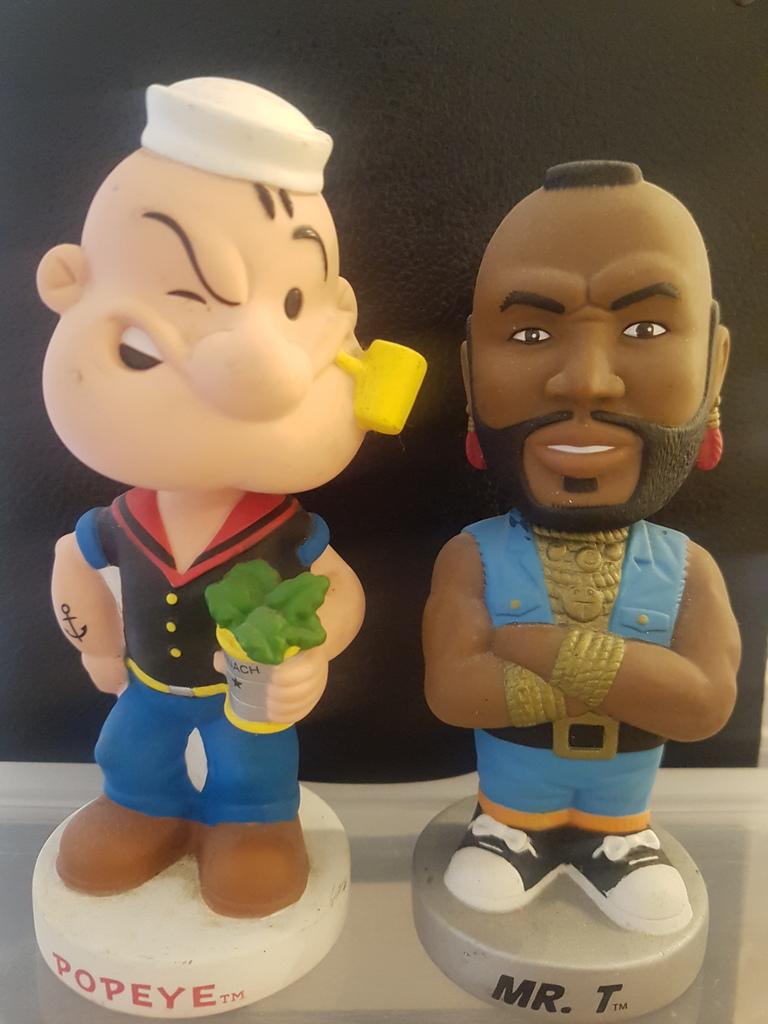 tough guys bobbleheads! plastic popeye and mr t bobbleheads
