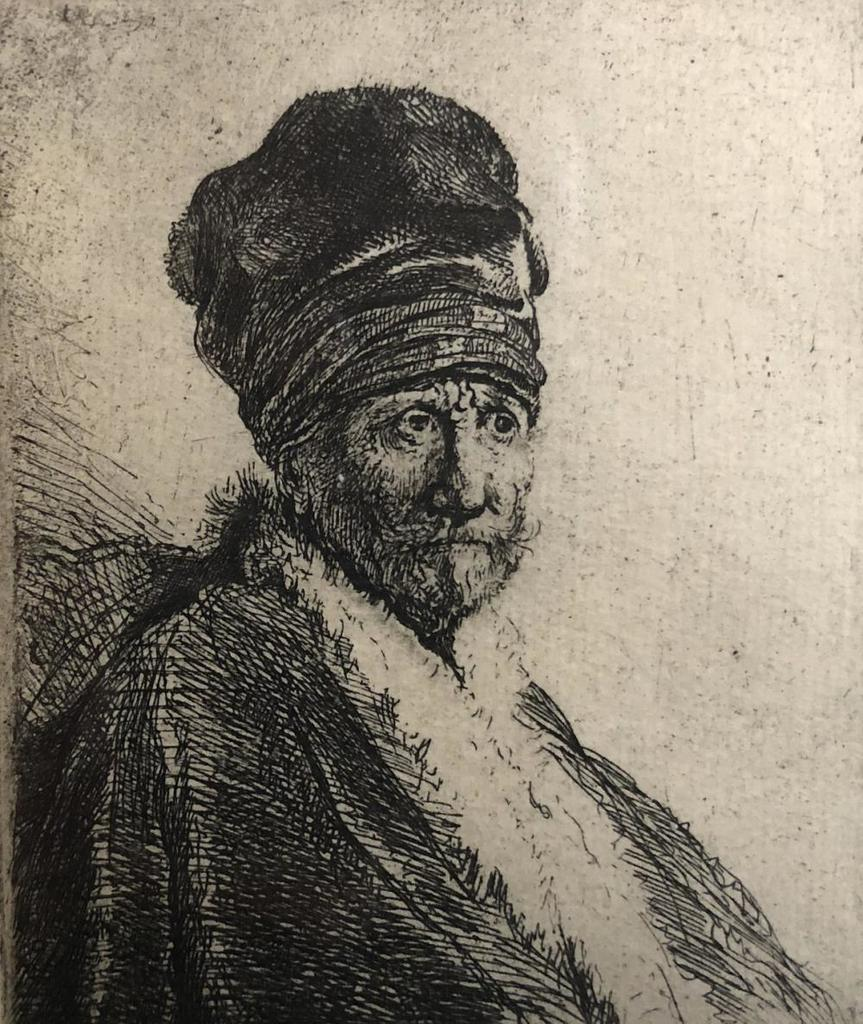 """Rembrandt Etching """"Bust of man waring a high cap"""" C1630"""