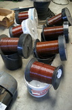 Large copper wire spools