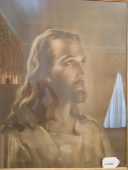 Large Vintage Picture of Jesus in Ornate Frame