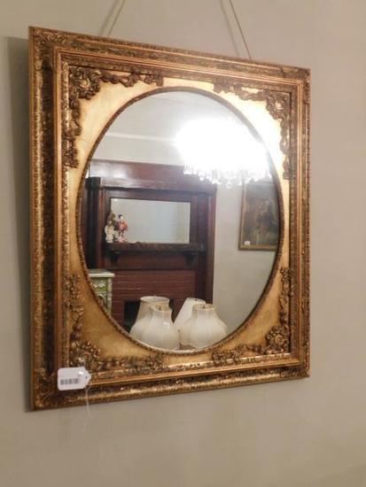 Large Ornately Framed Gold Mirror