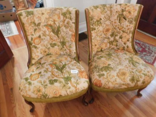 Pair of Vintage Floral Upholstered Chairs