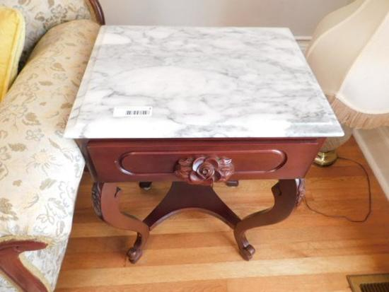 Vintage Mahogany Marble Top End Table