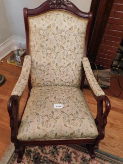 Vintage Mahogany Goose Neck Rocking Chair