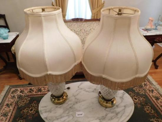Pair of Crystal Base Lamps