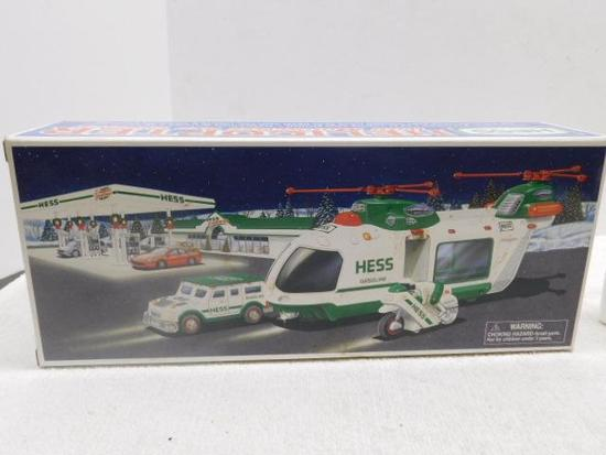 2001 Hess Collectible Helicopter With Motorcycle And Cruiser