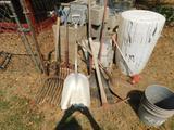 Lot of Shovels and Rakes