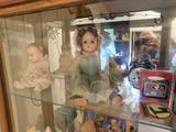 3 Shelves Contents, Dolls, Coca-Cola, Etc.
