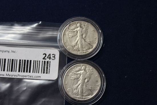 2- 1944 Walking Liberty Half Dollars