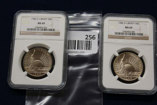 2- 1986D Liberty 50C Half Dollars