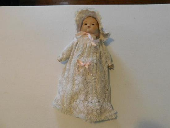 Doll with White Dress and Hat