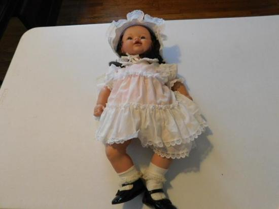 Doll with White Dress and Bonnet