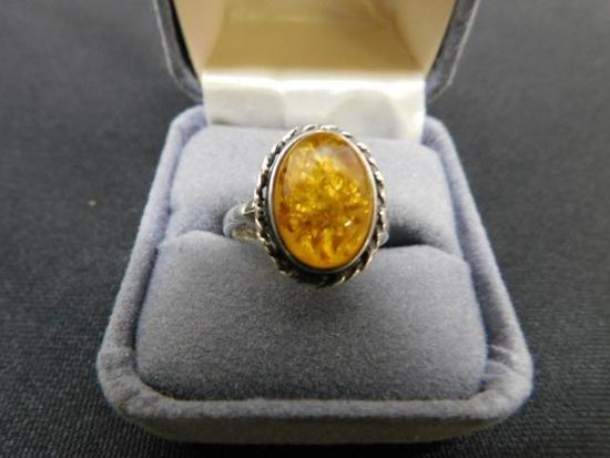 Amber Ring Set in Sterling Silver